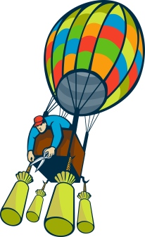 man hot air balloon ballast