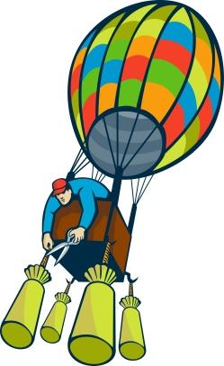 man hot air balloon ballast